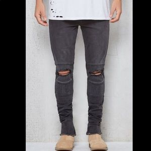 PACSUN men's stacked moto skinny jeans ripped grey
